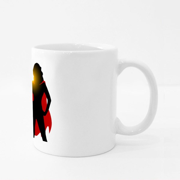 Silhouette of Super Woman Colour Mugs