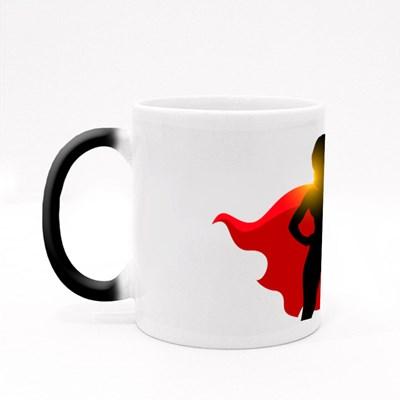 Silhouette of Super Woman Magic Mugs