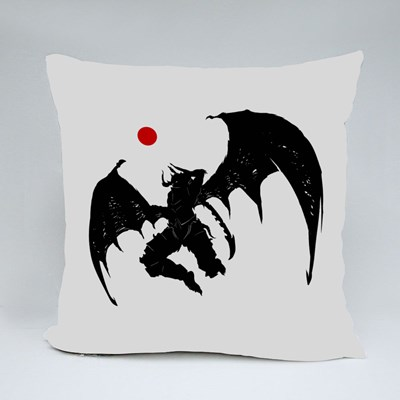 Mighty Demon With Jagged Sword Throw Pillows