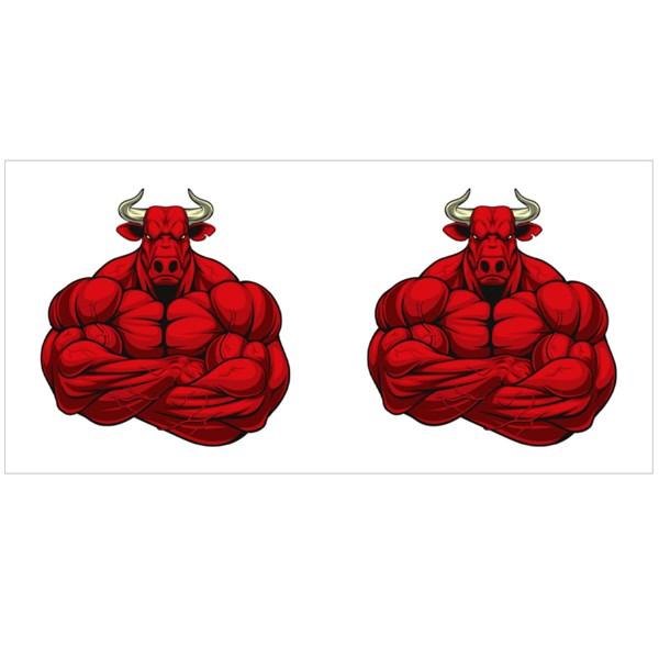 Red Muscular Bull Colour Mugs