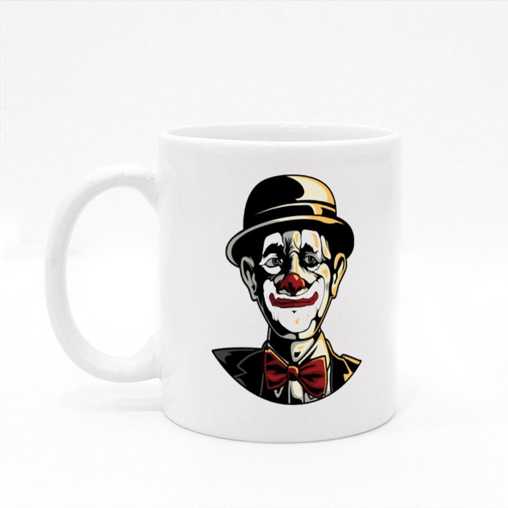 The Face of a Scary Hat Clown Colour Mugs
