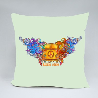 Vintage Hippie Car Throw Pillows