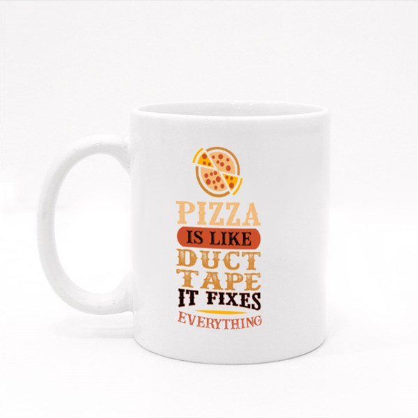 Pizza Is Like Duct Tape Colour Mugs