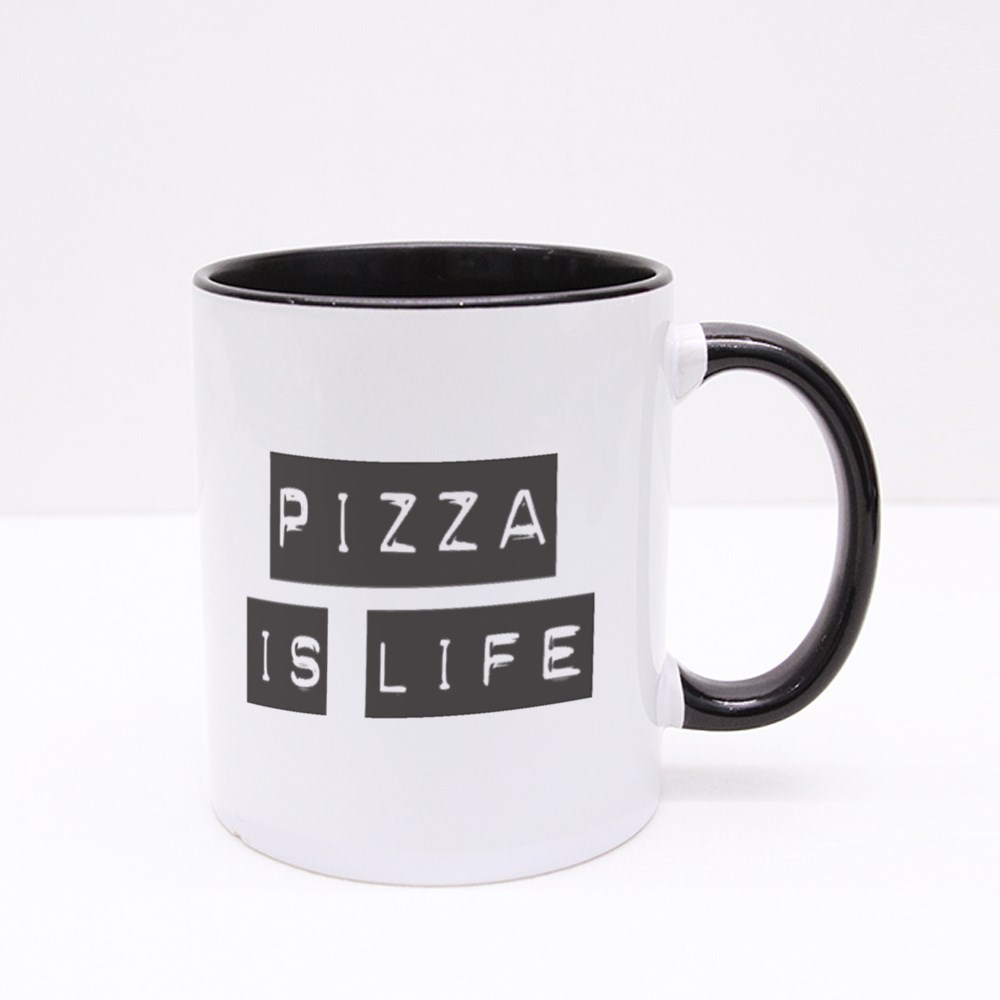 Black Highlight Pizza Is Life Colour Mugs