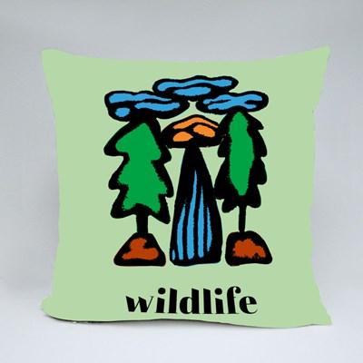 Cartoon Landscape of Trees Throw Pillows