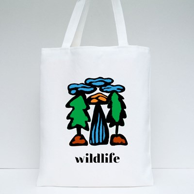 Cartoon Landscape of Trees Tote Bags