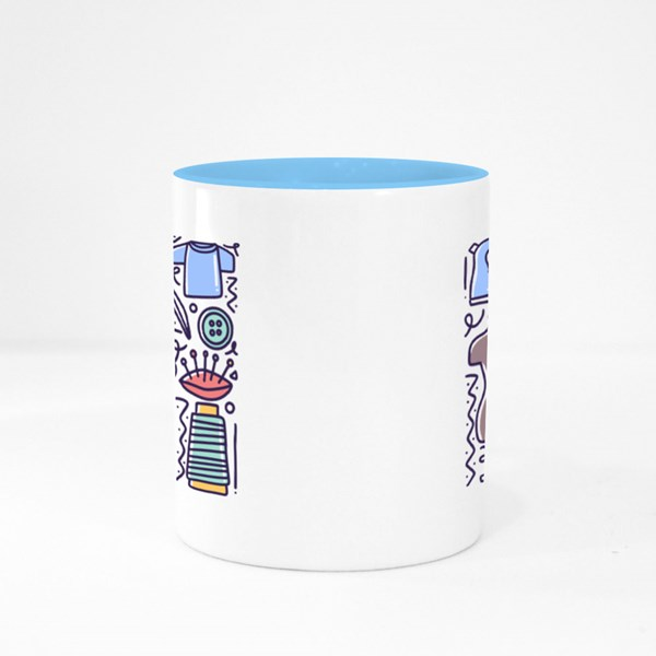 Doodle Set With Icons Colour Mugs
