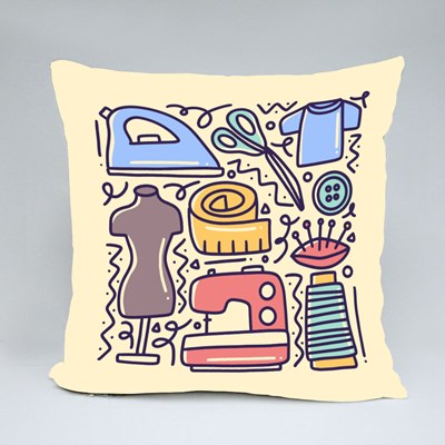 Doodle Set With Icons Throw Pillows