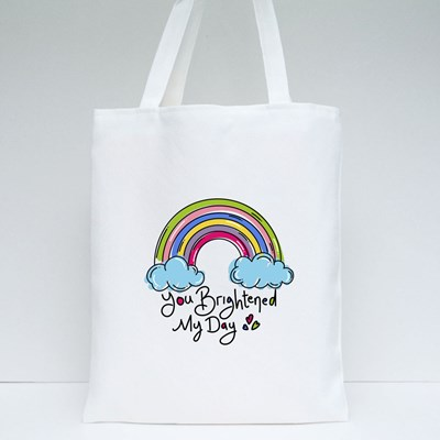 Rainbow With the Words Tote Bags