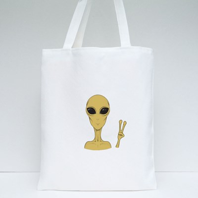 Extraterrestrial Peace Sign Tote Bags