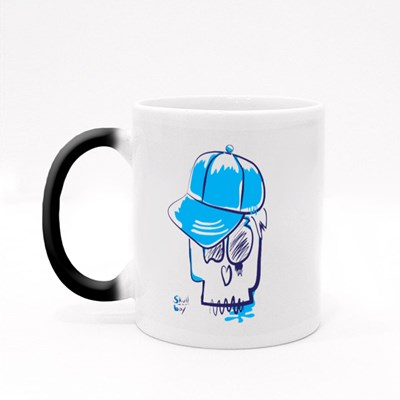 Skull Boy Typography Magic Mugs