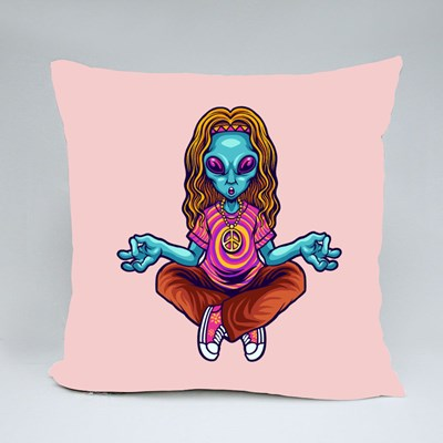 Hippie Alien Yoga Throw Pillows