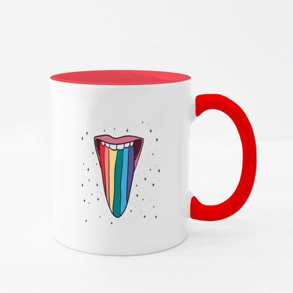 Woman With Rainbow Colour Mugs