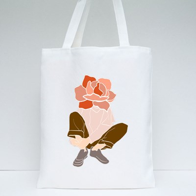Man With a Flower Tote Bags