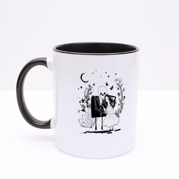 Young Cute Girl and Skeleton Colour Mugs