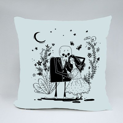 Young Cute Girl and Skeleton Throw Pillows