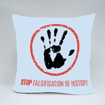 Stop Falsification of History Throw Pillows