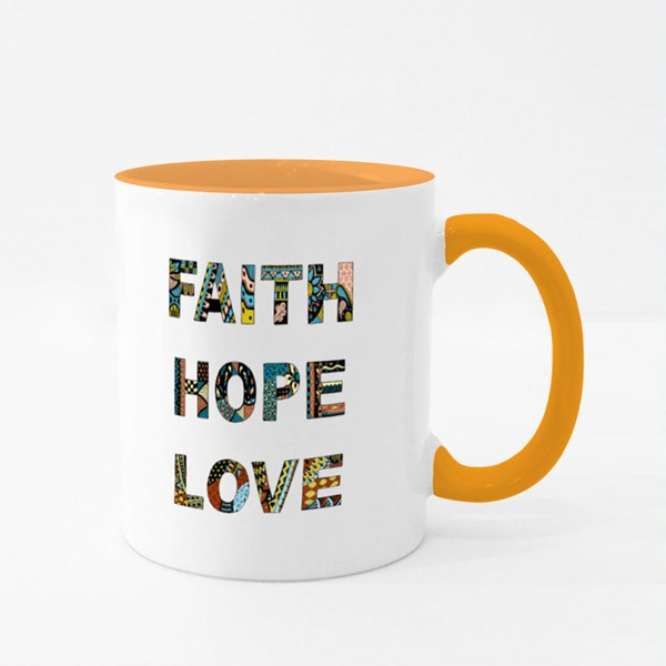 Words Faith, Hope, Love Colour Mugs