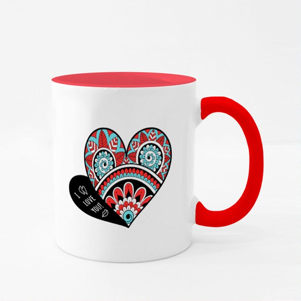 Openwork Heart for Valentines Colour Mugs