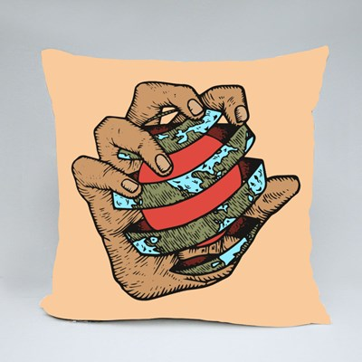 Hand Grasping Earth Throw Pillows