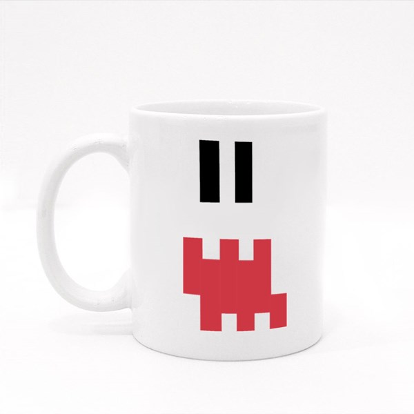 Pixel Emoji Shocked Face Colour Mugs