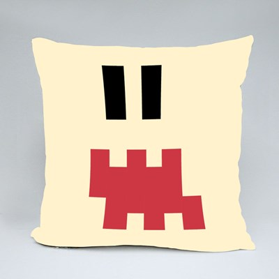 Pixel Emoji Shocked Face Throw Pillows