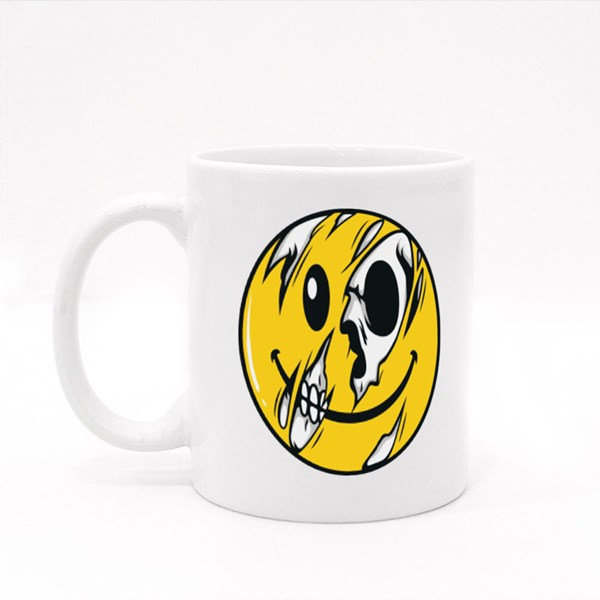 Half Skull Emoticon Colour Mugs