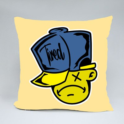 Tired Emoji With Hat Throw Pillows