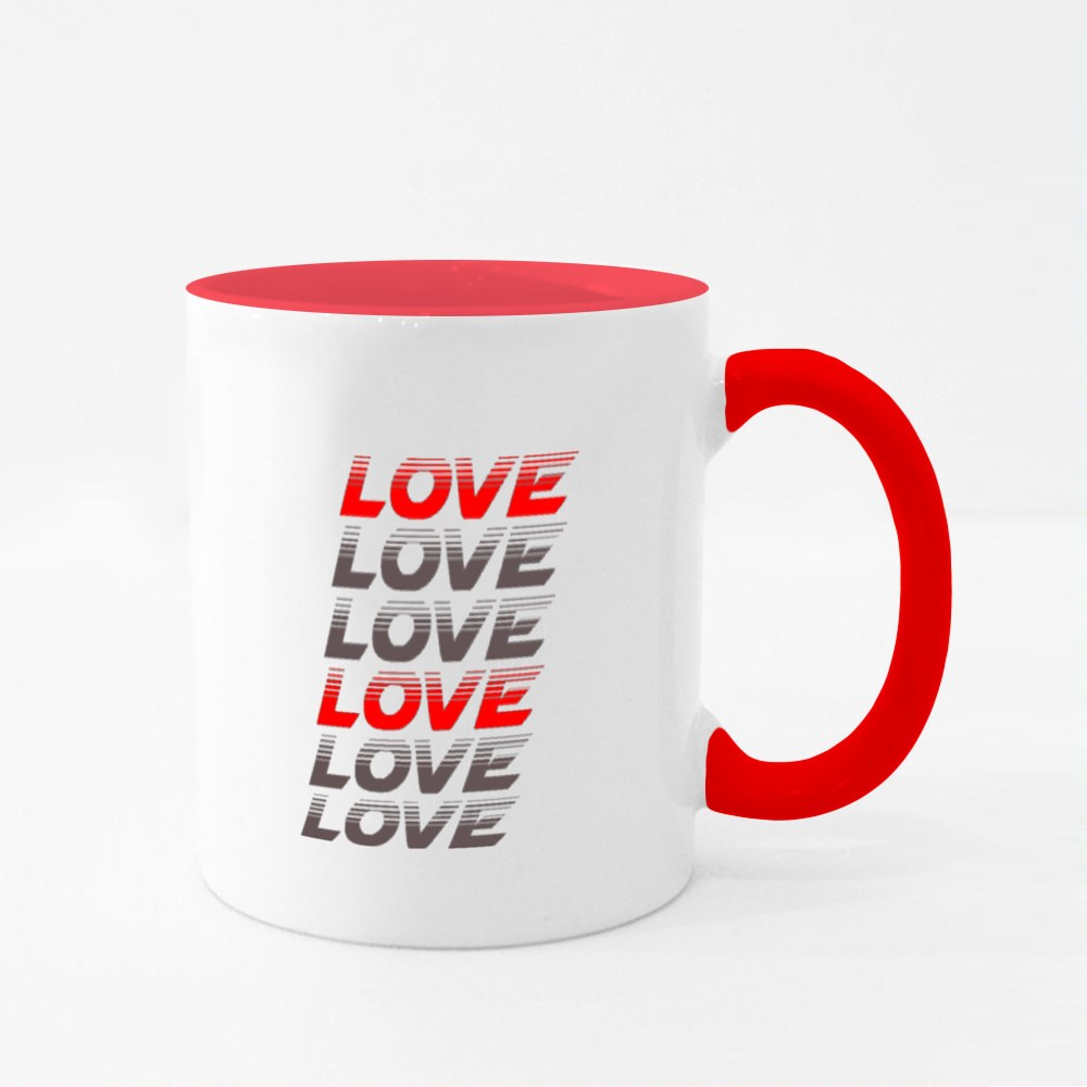 Love Typography Colour Mugs