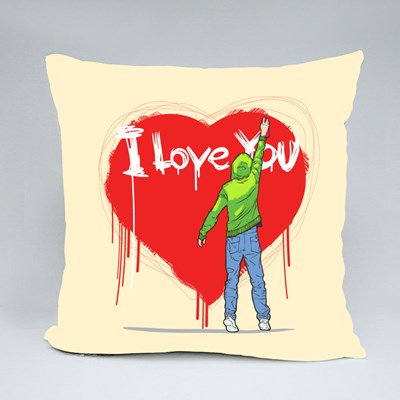 Young Man Writing on the Wall Throw Pillows