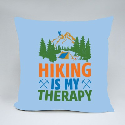 Hiking Is My Therapy Throw Pillows