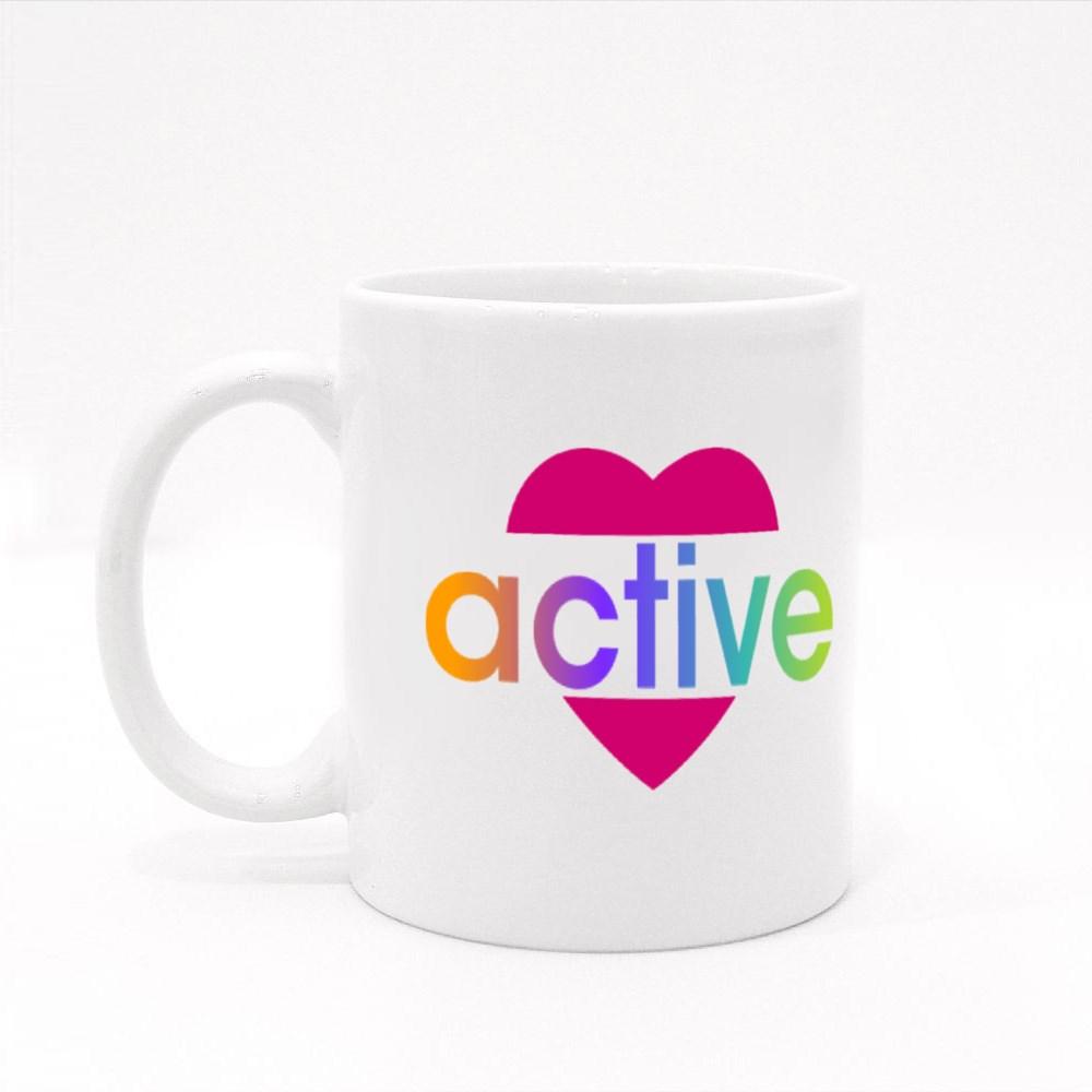 Active Colorful Heart Colour Mugs
