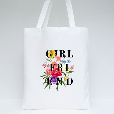 Girlfriend Text With Flower Tote Bags