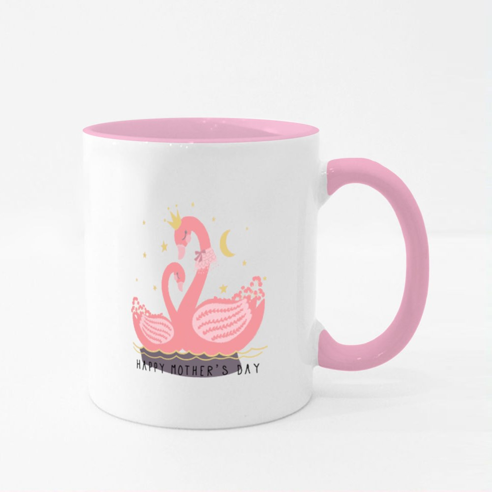Happy Mothers Day , Cute Swan Colour Mugs