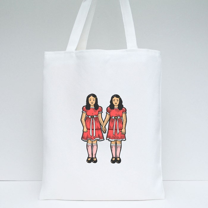 Twins Girls Like in Horror Tote Bags
