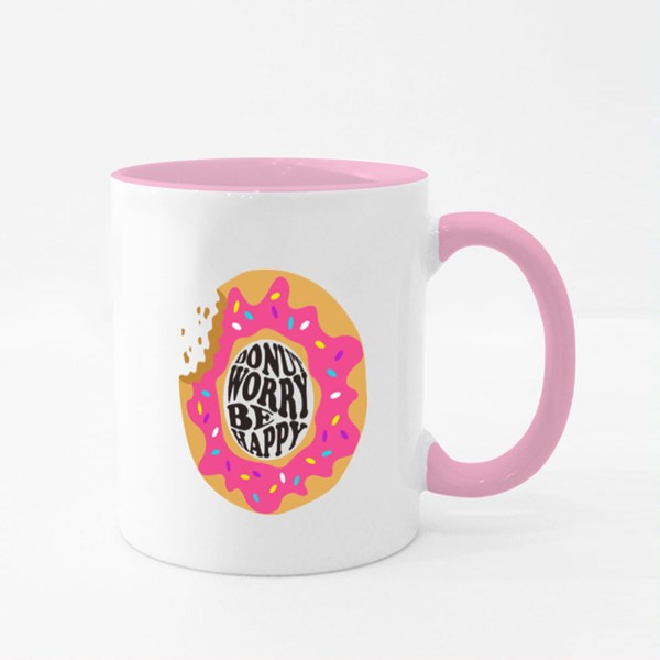Donut Worry Be Happy Colour Mugs