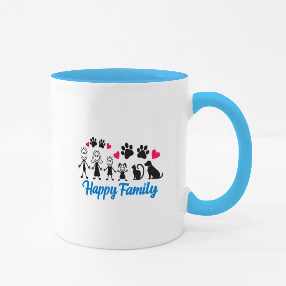 Happy Family With Pets Colour Mugs