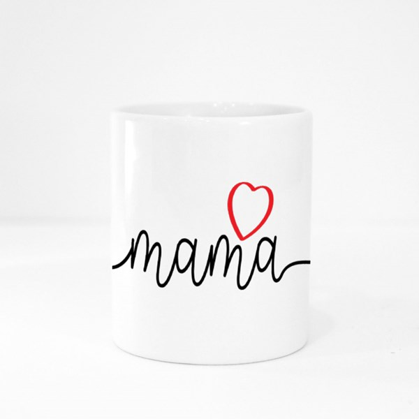 Mama With Love Heart Colour Mugs