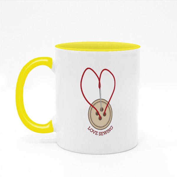 Love Sewing Button Colour Mugs