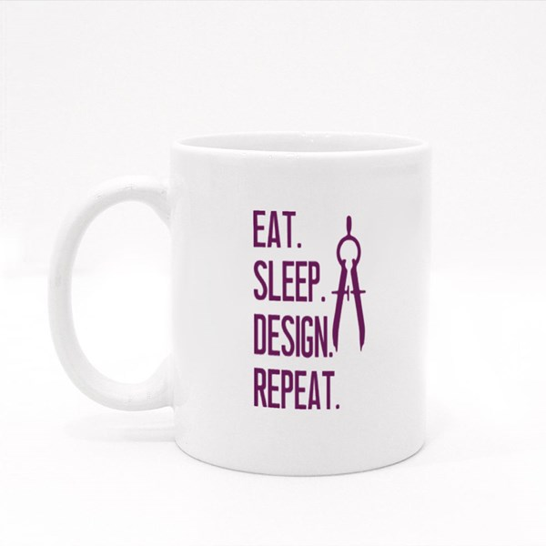 Eat Sleep Sketch Repeat Colour Mugs