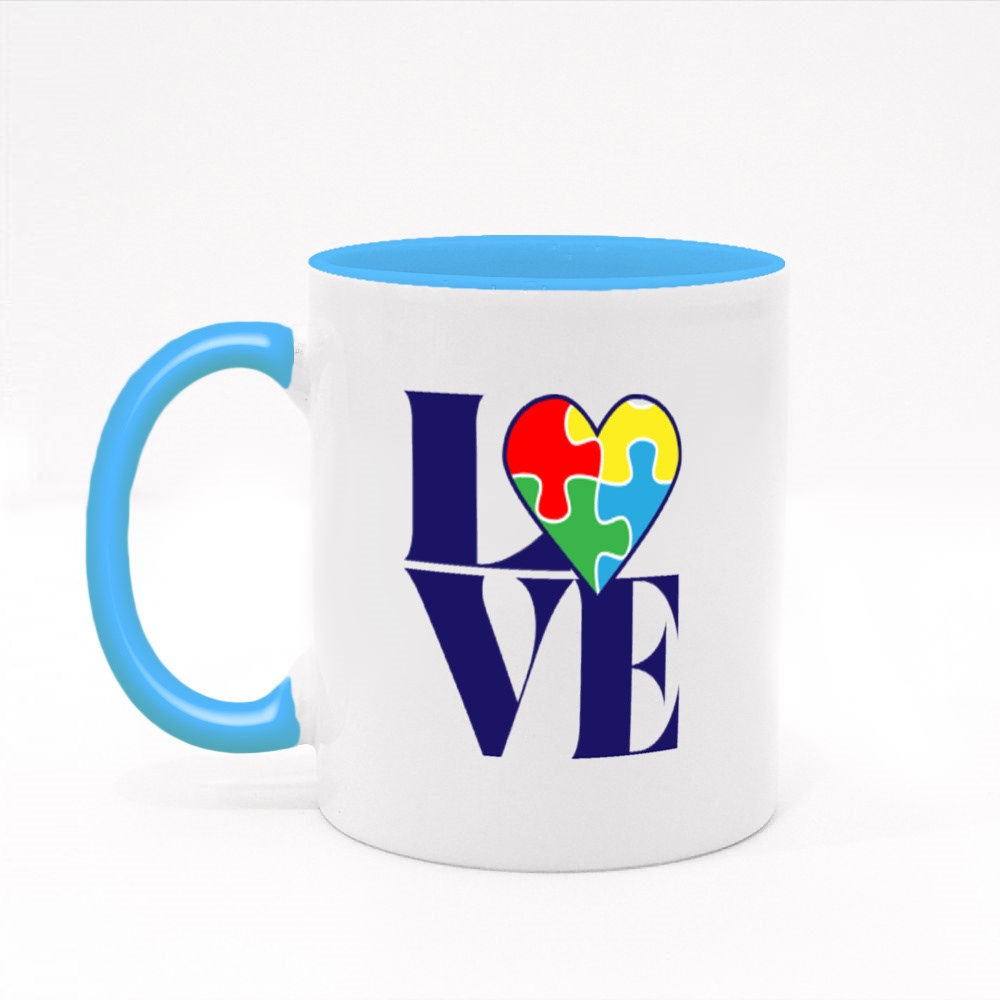 Love With Autism Puzzle Heart Colour Mugs