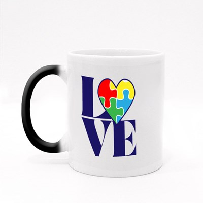 Love With Autism Puzzle Heart Magic Mugs