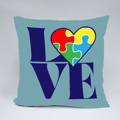 Love With Autism Puzzle Heart Throw Pillows