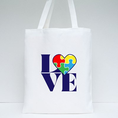 Love With Autism Puzzle Heart Tote Bags