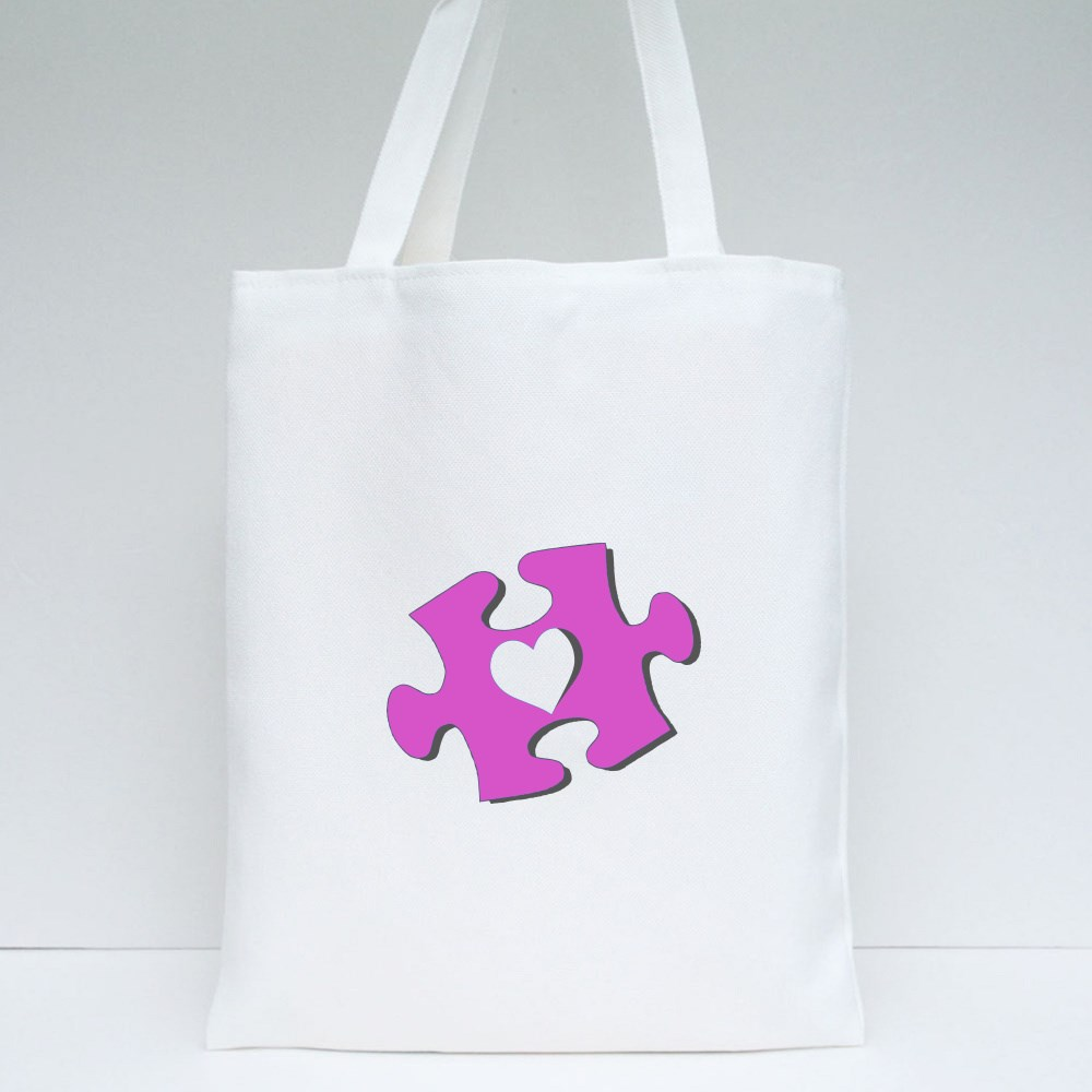 Heart Hole on Puzzle Tote Bags