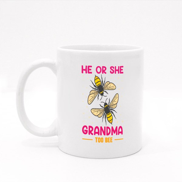 He or She Grandma to Be Colour Mugs