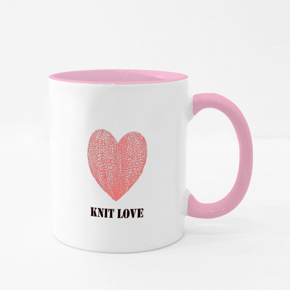 Knit Love With Pink Love Colour Mugs