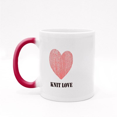 Knit Love With Pink Love Magic Mugs