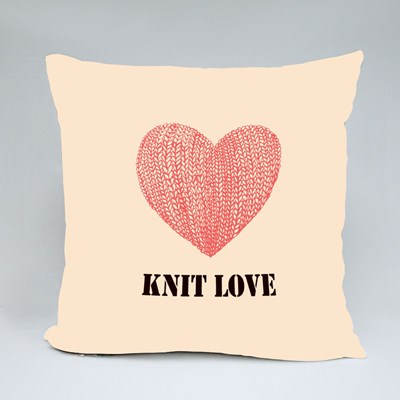 Knit Love With Pink Love Throw Pillows