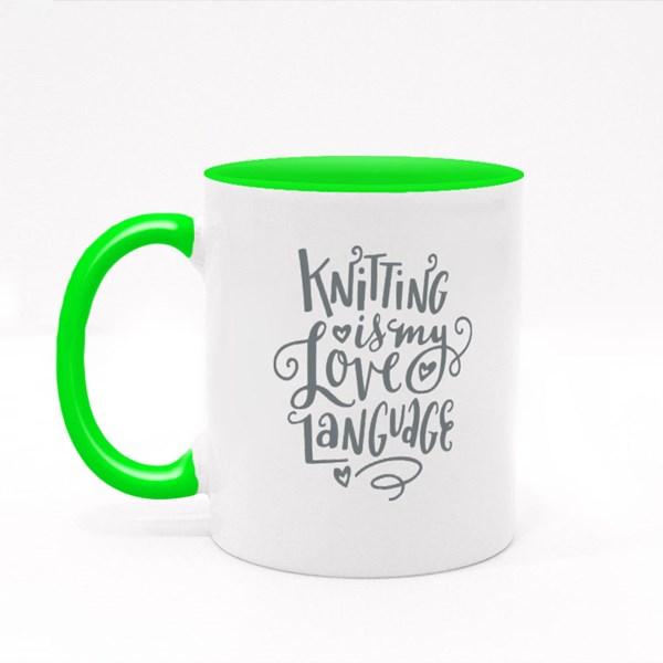 Knitting Is My Love Language Colour Mugs